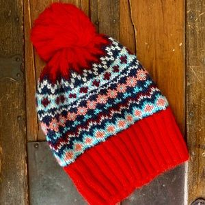 🏷 GAP | Fair Isle Pom Pom Sweater Beanie Hat